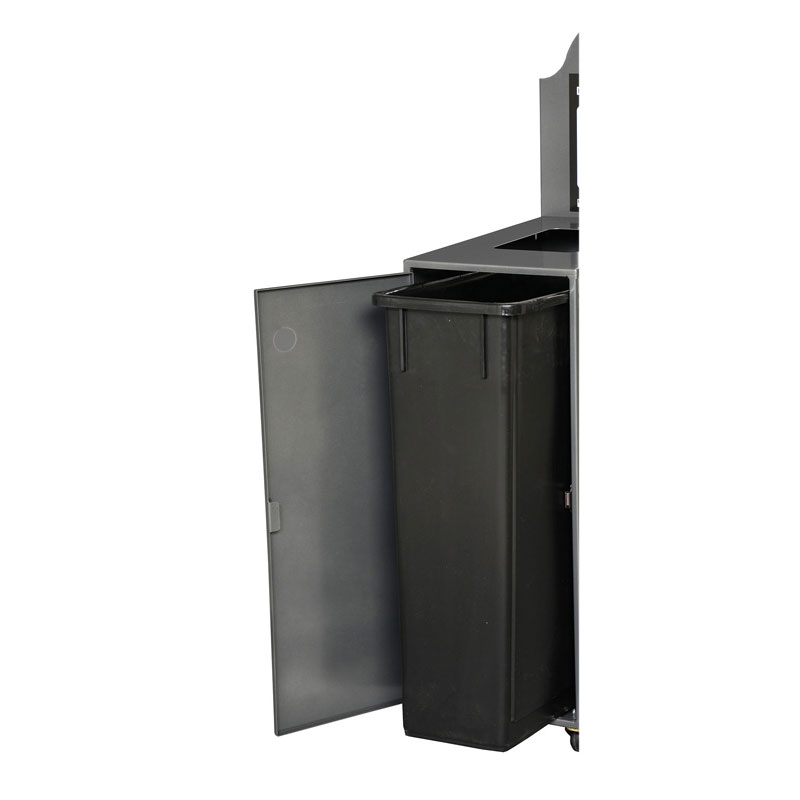 Station de recyclage poubelle porte ouverte open door recycling station bin Nova Mobilier Modulo