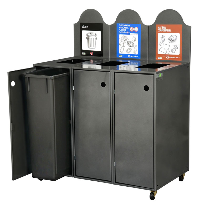 Station de recyclage poubelle 3 compartiments 3 streams recycling station bin Nova Mobilier Modulo-903