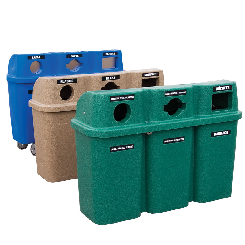 Poubelle station recyclage recycling station bin 575trio nova mobilier 1