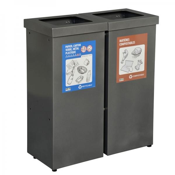 Station déchets et recyclage 2 voies NOVA90-2