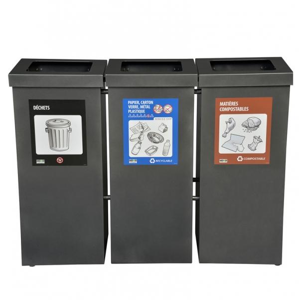 Station de recyclage poubelle 3 compartiment 3 stream recycling station bin Nova Mobilier nova65 3 1 web
