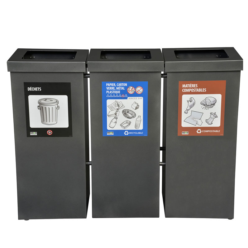 Station de recyclage poubelle 3 compartiment 3 stream recycling station bin Nova Mobilier nova65 3 1 web