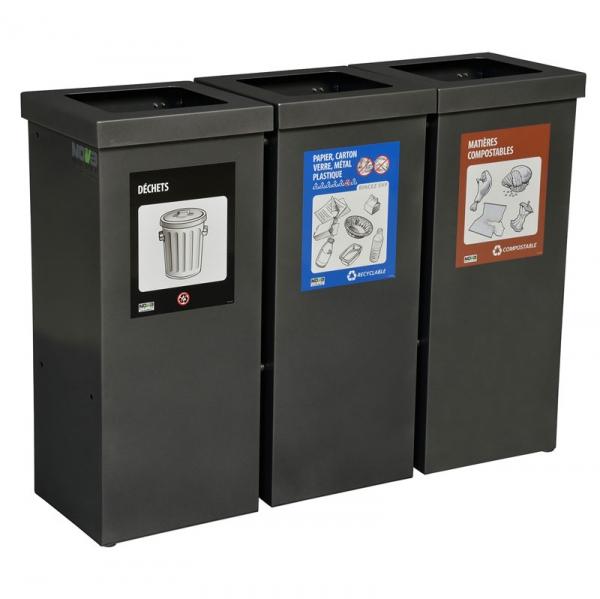 Station déchets et recyclage 3 voies NOVA90-3