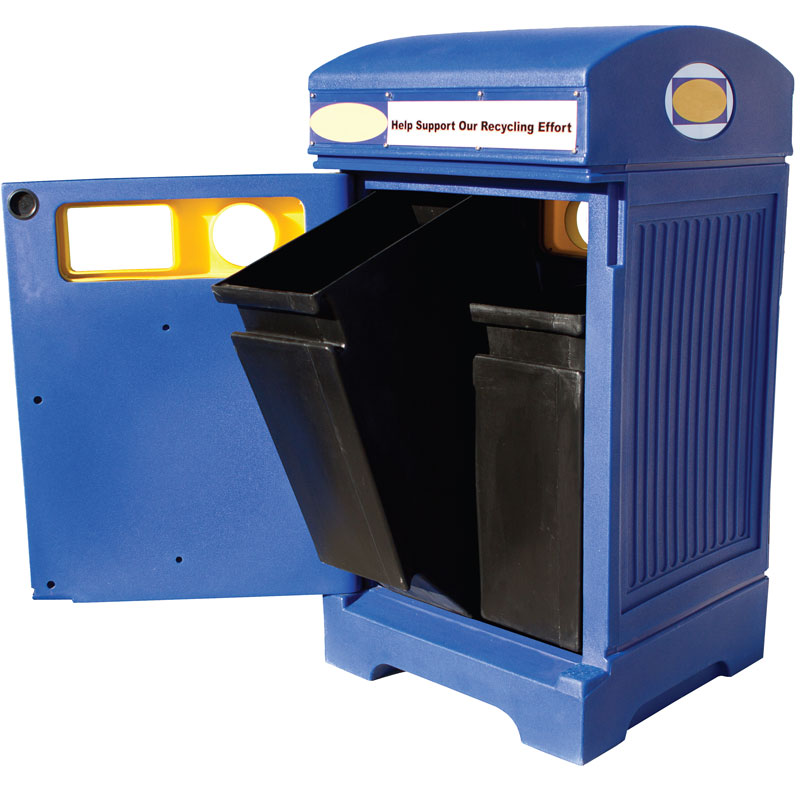 Station poubelle recyclage multi streams recycling container receptacle bin Nova Mobilier PHOENIX DUO 2 web