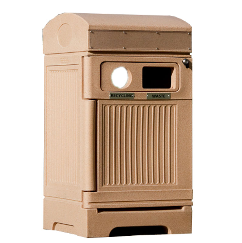 Station poubelle recyclage multi streams recycling container receptacle bin Nova Mobilier PHOENIX DUO 4 web