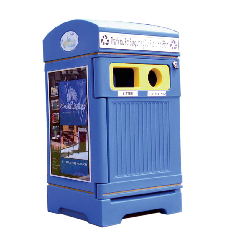 Station poubelle recyclage multi streams recycling container receptacle bin Nova Mobilier PHOENIX DUO 1 web