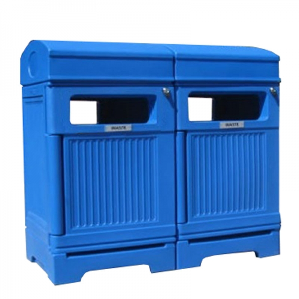 2-Stream waste and recycling receptacle