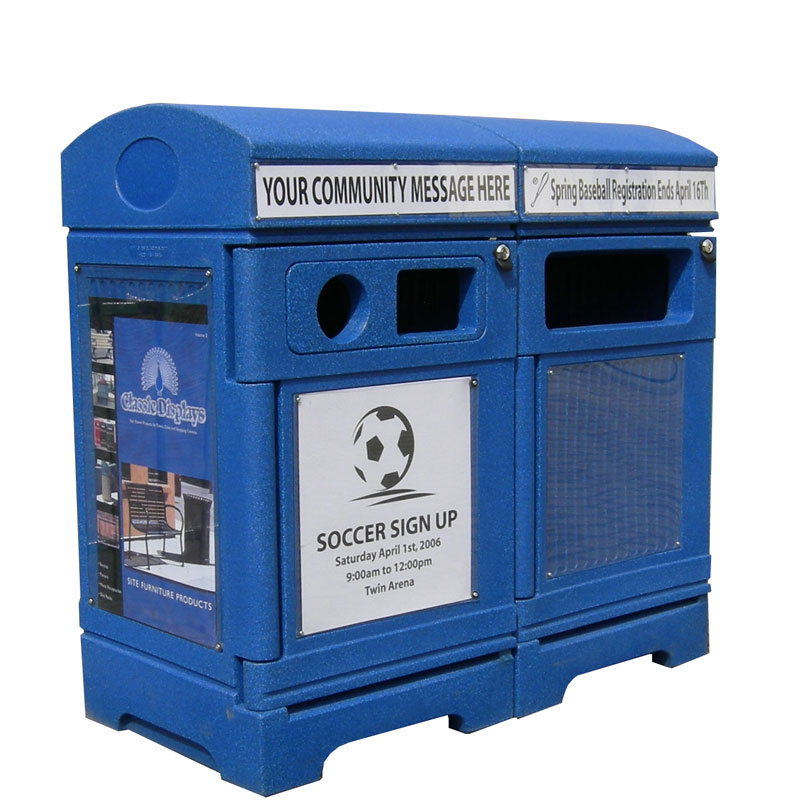 Station poubelle recyclage multi streams recycling container receptacle bin Nova Mobilier PHOENIX TRIO 3 web