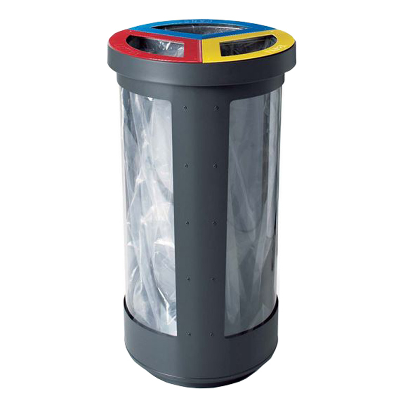 Station corbeille poubelle recyclage dechets recycling litter container receptacle tri bin security Nova Mobilier