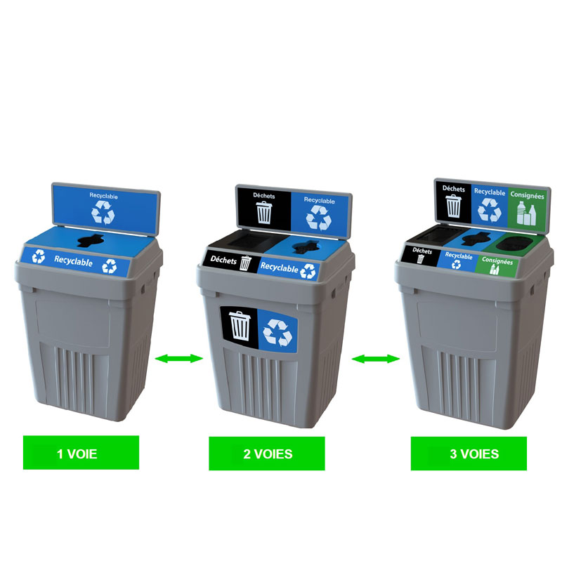 Station dechets recyclable poubelle corbeille FlexE 3 bin receptacle Nova Mobilier web
